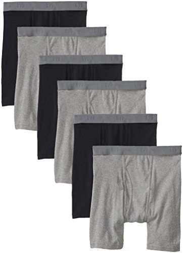 BVD Men's 6 Pack Boxer Brief, Black/Gray, ()