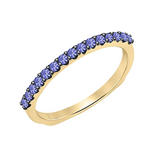 14k Yellow Gold Over 925 Sterling Silver Round Cut Tanzanite Eternity Band Ring for Women ()