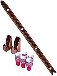 GoPong Das Shotten Ski - Rustic Wood 4 Person Drinking Ski with 50 Plastic Shot Glasses