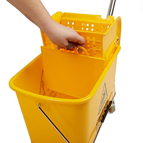 Mind Reader Commercial Mop Bucket - with Down Press Wringer - 22 Quart Capacity - Yellow by Mind Reader (Image #4)