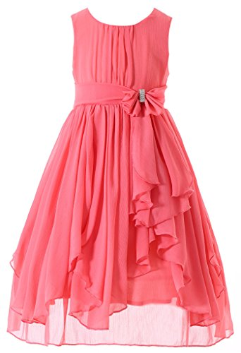 Bow Dream Flower Girl Dress Bridesmaid Ruffled Chiffon Coral 7