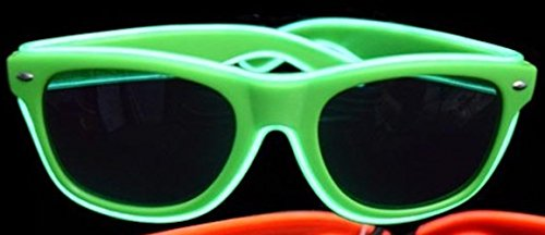 Light Up Flashing Green EL Wire Glasses - 10 Pack - Tons of fun for that next big party!