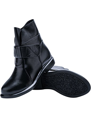 Shoes Women's Zoulee Boots Leather Flats Black Ankle dXqw0Cq