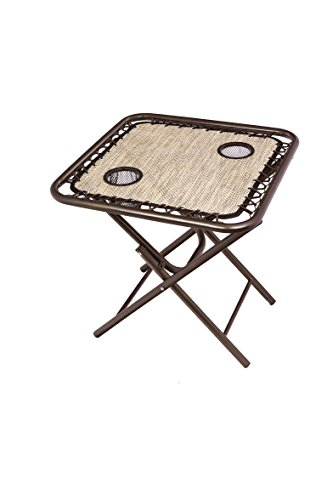 Bliss Hammocks GFC-TBL-S Foldable Camping Side Table with Cupholders, Sand - No assembly involved; simply unfold and use Made of sling material with tightly pulled bungee cords to provide a sturdy surface Powder coated steel for durability - patio-tables, patio-furniture, patio - 41yNQIUSD L -