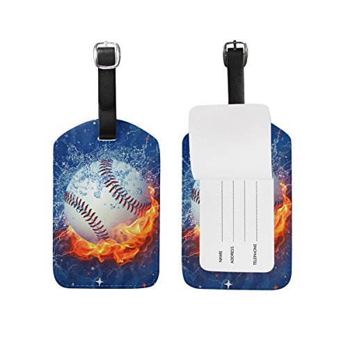 Leather Baseball Briefcase (Fire Water Baseball Travel Leather Luggage Baggage Suitcases Tags Label Set of 2)