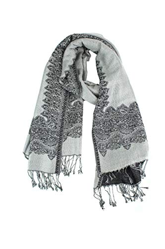 Paskmlna Border Pattern Double Layered Reversible Woven Pashmina Shawl Scarf Wrap Stole (003#27grey/black)