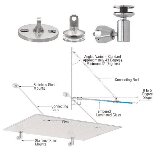 Awning Pole Kit (C.R. LAURENCE GAS190BS CRL Brushed Stainless Glass Awning Support System Mounting Kit)