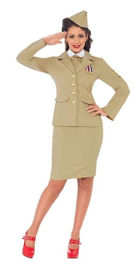 1940s Tea Dresses, Mature, Mrs. Long Sleeve Dresses  Retro Officer Woman  AT vintagedancer.com