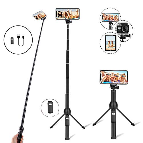 Eocean 45-Inch Selfie Stick Tripod, Extendable Selfie Stick with Wireless Remote Compatible with iPhone Xs/Xr/Xs Max/X/8 Plus/8/ iPhone XR/iPhone XS/iPhone XS Max/7 Plus/Galaxy Note 9/S9/S9 Plus/GoPro