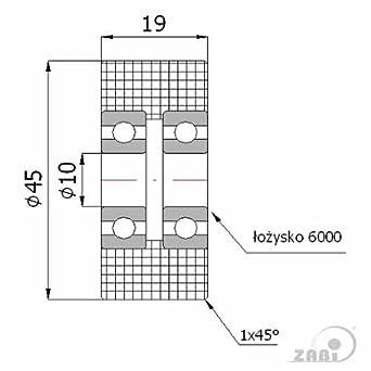 R-40-50//8 ZAB-S R-40-50//8 Kunststoffrolle Doppelte Lagerung /Ø 40mm-/Ø65mm