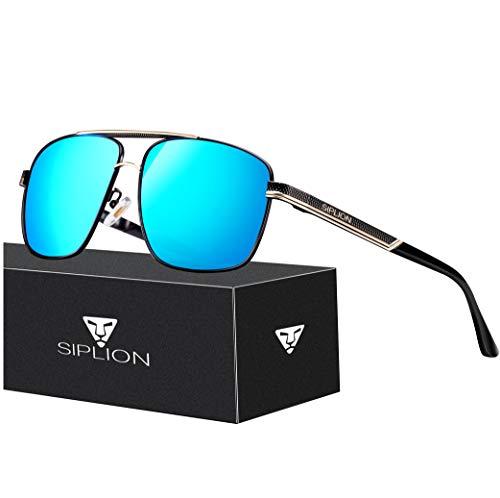 SIPLION Men's Driving Polarized Rectangular Square Sunglasses Metal Frame 1823 Blue