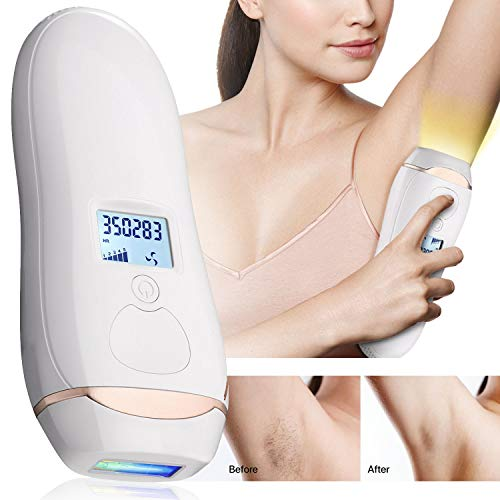 - Pain-free Permanent Hair Removal - IPL Hair Removal System, 350,000 Flashes Professional Face & Body Hair Removal Device for Women & Men, 5 Power Level with LCD Display