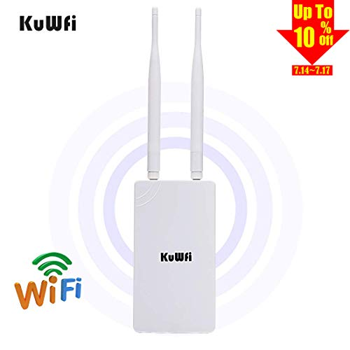 KuWFi 300Mbps High Power 2.4GHz WiFi Signal Extender High-Performance Wide-Area Wi-Fi Indoor Outdoor WiFi Repeater Including POE Adapter ()