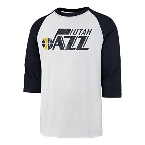 fan products of NBA Utah Jazz Men's OTS Rival Raglan Distressed Tee, White Wash, Medium