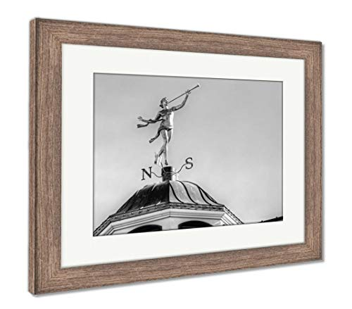 Ashley Framed Prints The Weather Vane, Wall Art Home Decoration, Black/White, 26x30 (Frame Size), Rustic Barn Wood Frame, AG5917303