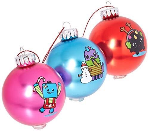 - Kurt Adler 60MM So So Happy Decal Glass Ball Ornament Set of 3 Pieces