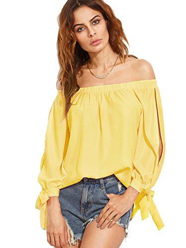 SheIn Womens Shoulder Sleeve Blouse