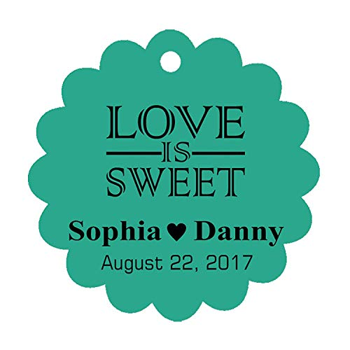 38p Pc - 100 PCS Love is Sweet Custom Made Scallop Edge Rong Hang Tags Personalized Wedding Party Favor Gift Tags