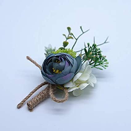 Dosige Romantic Handmade Boutonniere Buttonhole Bridegroom Bridal Men Groom Corsage for Wedding Prom Party Decor