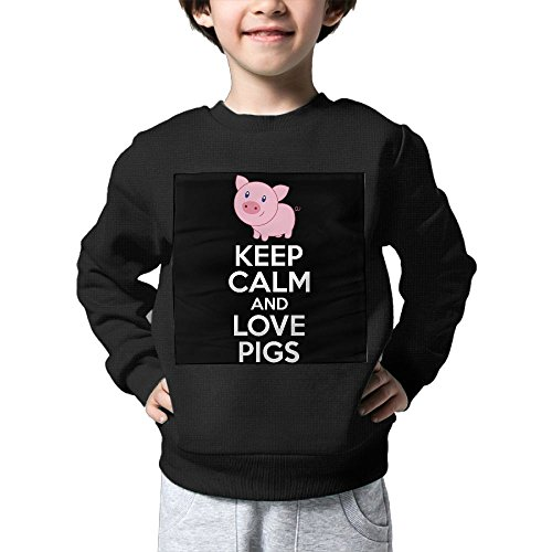 Keep Calm And Love Pigs Baby Sweater Kids Sweatshirts Children's Hoodless Pullover Outwear Hoodless Round Neck SweatshirtBlack Size 2 Toddler