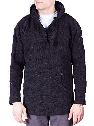 Fleece Hooded Wetsuit - Mens Poncho Hoodie Sweatshirt Pullover Fleece Drawstring Hood for Men Black Medium