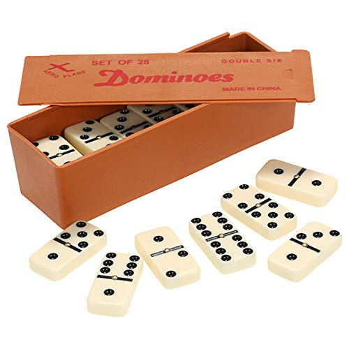 Walmeck Double Six Dominoes Set Entertainment Recreational Travel Game Toy Black Dots Dominoes