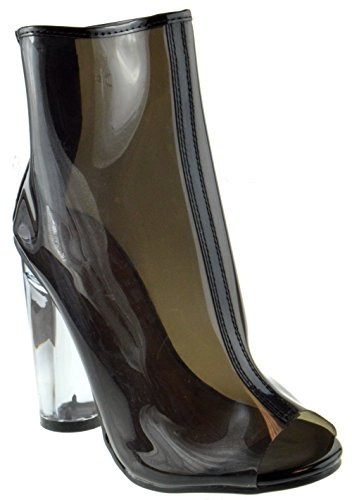 Forever IE34 Women's Peep Toe Transparent Lucite Heel Back Zipper Ankle Bootie, Color:BLACK, Size:8.5 (Clear Heel Pumps)