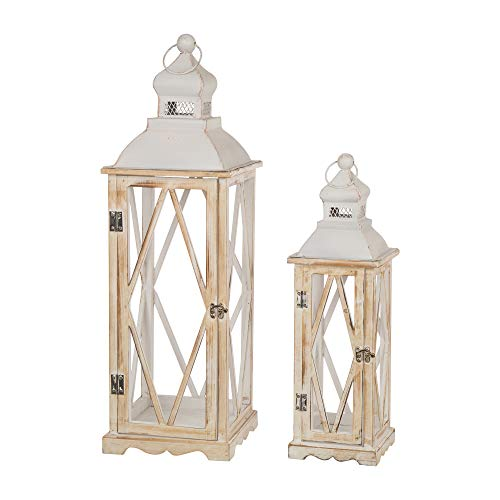 Cheap  Glitzhome Farmhouse White Wood Metal Lanterns Decorative Hanging Candle Lanterns Set of..