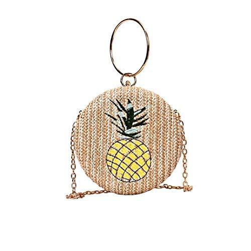 Handwoven Round Rattan Bag,Bamboo Bag,Natural Chic Hand,Handmade Top Handle Handbag for Summer Sea (Khaki)