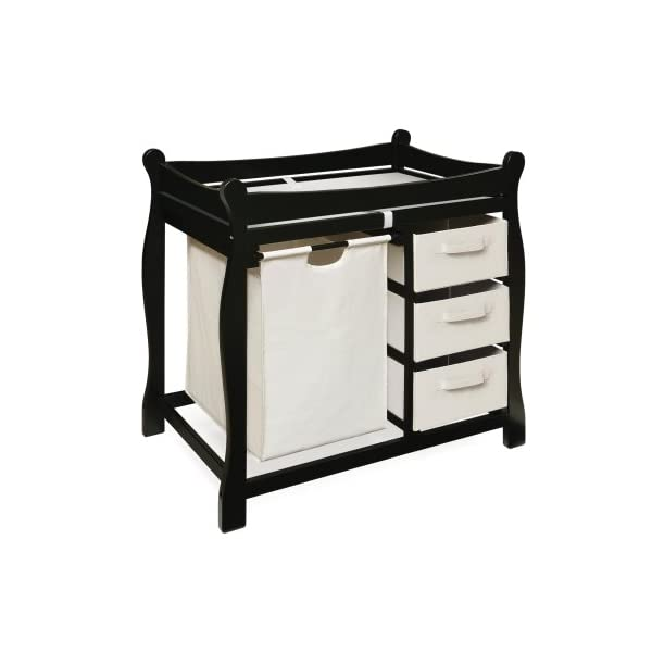 Sleigh Style Baby Changing Table with Laundry Hamper and 3 Storage Baskets