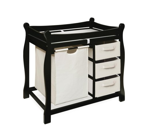 Badger Basket Sleigh Style Changing Table with Hamper/3 Baskets, Black by Badger Basket