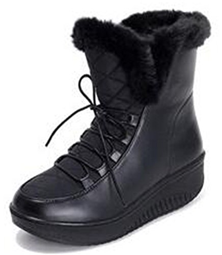 IDIFU Womens Comfy Fluffy Low Wedge Heels Ankle Snow Boots Lace Up Faux Fur Lined Booties Black jCRbTJVi