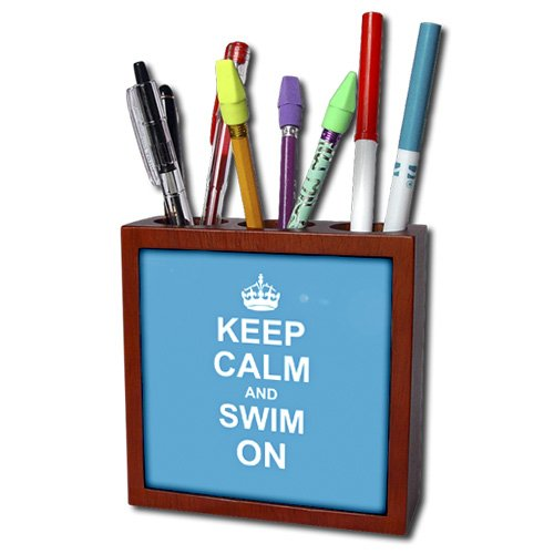 3dRose ph_157778_1 Keep Calm and Swim on Blue Carry on Swimming Hobby Or Pro Swimmer Gifts Pool Fun Funny Humor Tile Pen Holder, 5-Inch
