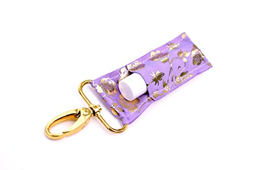 The LippyClip Lip Balm Holder for Chapstick, Blistex, etc. (Lavender and Gold Roses) by Gabriel's Good Tidings®
