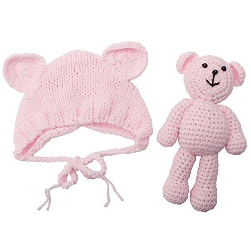 ECYC Newborn Baby Bear Hat Beanie with Bear Dolls Photography Accessories,Light Pink