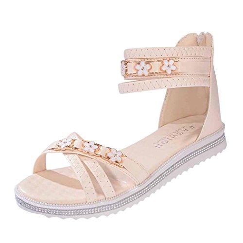 Zomer Sandalen, Inkach Dames Platte Schoenen Zomer Zacht Lederen Sandalen Peep Toe Romeinse Schoenen Beige