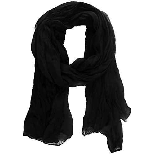 (SBParts Women Ruched Semi Sheer Soft Simple Pleated Casual Scarf)