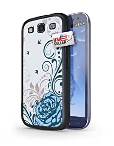 Blue Flowers Black Plastic Cover Case for Samsung S3