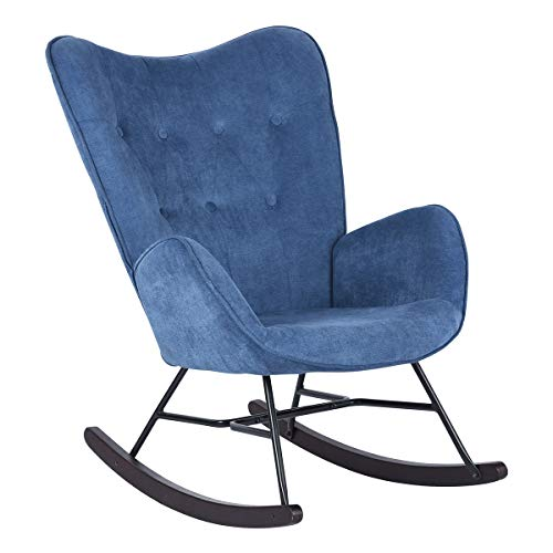 HOUSEINBOX.COM Rocking Chair,Lounge Chair Comfortable Relax,Modern Velvet Upholstered (Blue)