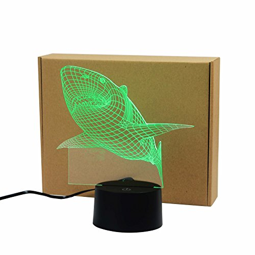 Shark Creative Creature 3D Acrylic Visual Home Touch Table Lamp Colorful Art Decor USB LED Children's Desk Night Light 3D-TD08 by AUCD (Image #10)