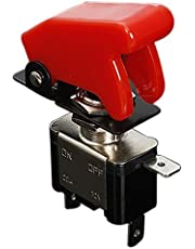 SODIAL(R) 12V 20A Palanca del Interruptor basculante inversor On / Off LED ON-OFF SPST + CUBIERTA AUTO Coche -Rojo oscuro