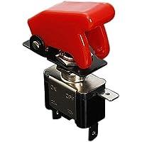 SODIAL(R) 12V 20A Interrupteur Inverseur a Bascule Levier On/Off LED ON-OFF SPST +COUVERTURE Auto Voiture-ROUGE FONCE