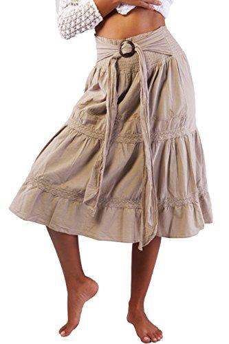 COTTON ORGANIC Women's Long Bohemian Hippie Skirt Boho White Tie Up Waist Summer Beach Wrap Maxi Skirt (Beige, Medium)