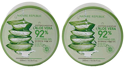Nature Republic New Soothing & Moisture Aloe Vera 92% Gel, 10.56 Fl Oz (2 Pack)