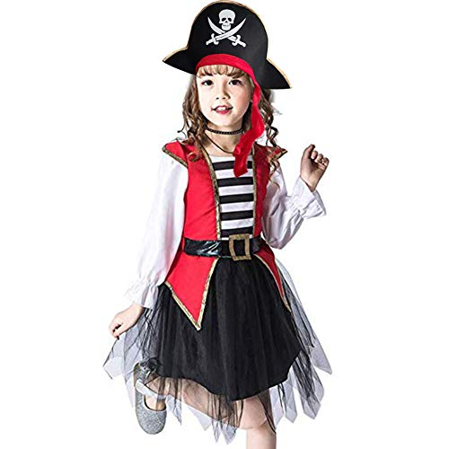 Girls Pirate Princess Dress Costume Fancy Dress Outfit Role Play Set -