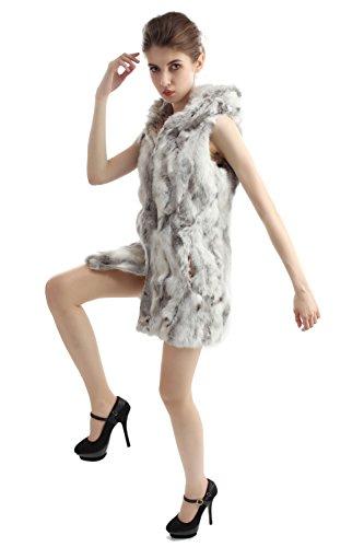 Chaleco tejido y largo de la piel de conejo con gorro Gris