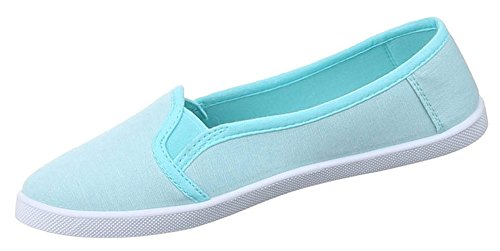 Damen Halbschuhe Schuhe Slipper Sneakers Freizeitschuhe schwarz grau blau rot rosa weiss 36 37 38 39 40 41 Blau
