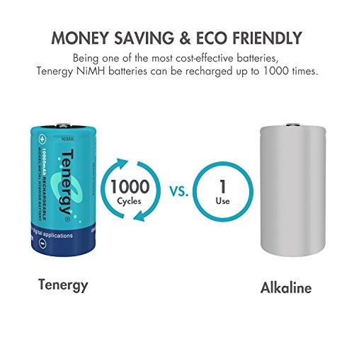 Tenergy Batería NiMH D de 10000 mAh, batería recargable de gran capacidad y tamaño D, baterías de alto consumo de células D para linterna, paquete de 8 unidades