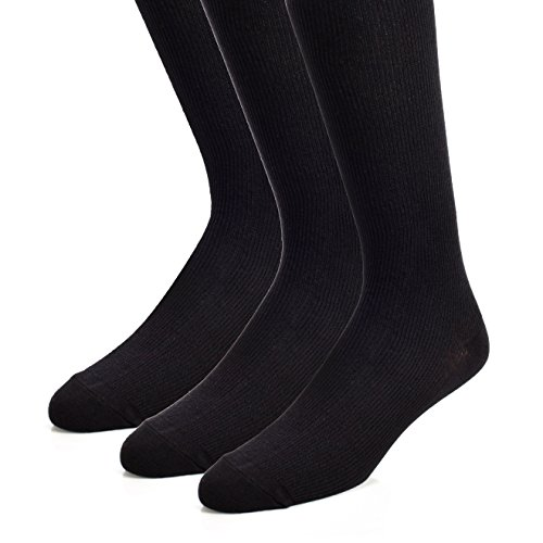 The Right Fit Mens Majestic Comfort Work Mid-Calf Ribbed Crew Style Dress Socks, Black, 13-15, 3 Pk