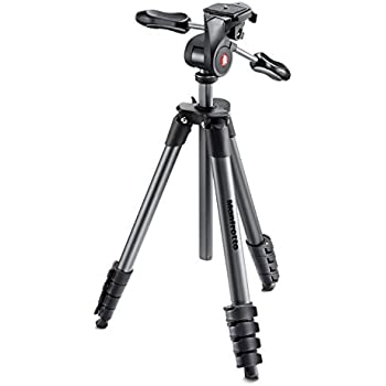 Manfrotto MKCOMPACTADV-BK Compact Advanced Tripod with 3-Way Head (Black)